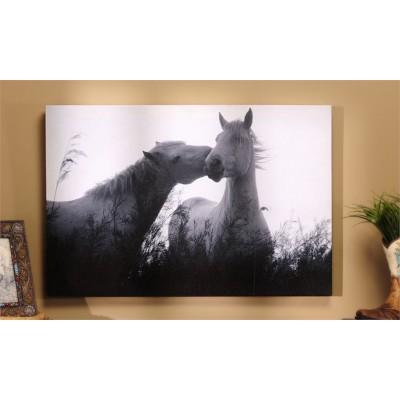 Toile chevaux noir et blanc 15X23