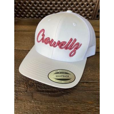 Casquette Crowellz blanche logo cerise