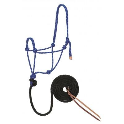 Licou de corde et laisse Weaver bleu et noir Full