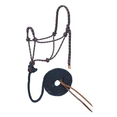 Licou de corde et laisse Weaver navy et rouge Full