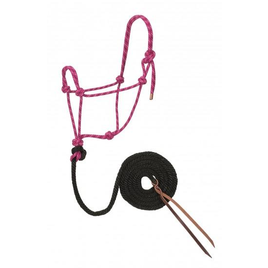 Licou de corde et laisse Weaver framboise et noir Full