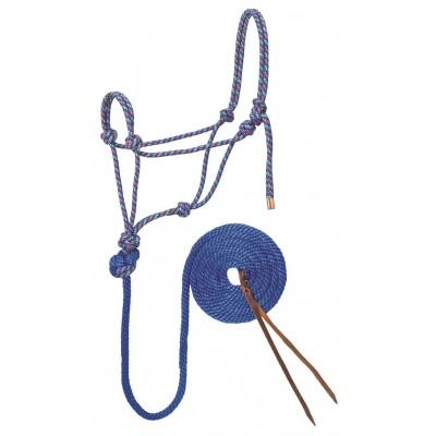 Licou de corde et laisse Weaver bleu lime orange full