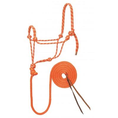 Licou de corde et laisse Weaver orange et menthe Full