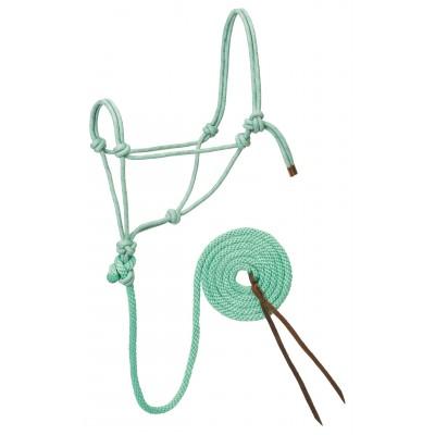 Licou de corde et laisse Weaver menthe, gris et lavande Full