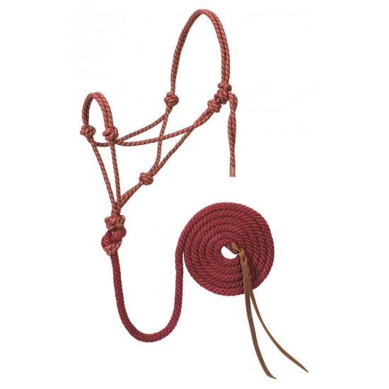 Licou de corde et laisse Weaver rouge vin et or Full