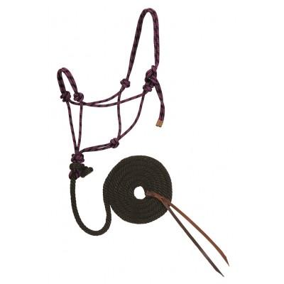 Licou de corde et laisse Weaver mauve et noir Full