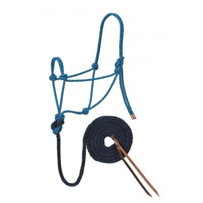 Licou de corde et laisse Weaver turquoise, navy et rouge Full