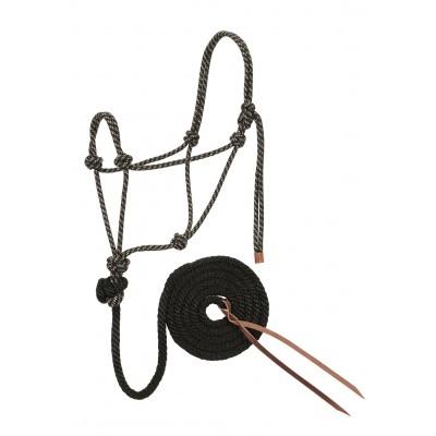 Licou de corde et laisse Weaver noir et tan Full