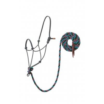 Licou Weaver Ecoluxe bambou mauve noir et turquoise