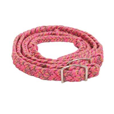 Rêne de baril tressée rose confetti