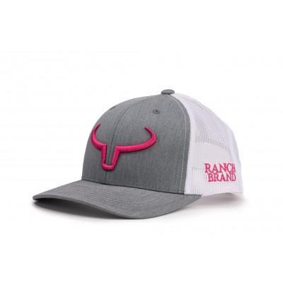 Casquette Ranch Brand Rancher gris pale logo rose