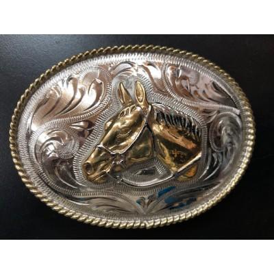 Boucle de ceinture ovale tête de cheval