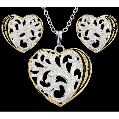 Ensemble collier et boucle d'oreilles, thème coeur MONTANA