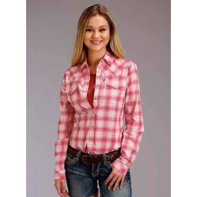 Blouse Roper carreaux rose